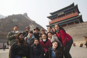 Faculty and students from the China and the Environment 360° course cluster at the Great Wall of China in March 2014.