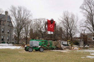 A bonfire-ready football player was built on Merion Green for the filming of a pilot of a new ABC drama.