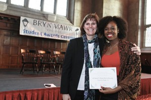Cassidy and Jacqueline Handy '14 at the 2014 Student Award Ceremony. The awards and scholarships Cassidy announced include honors bestowed by Bryn Mawr as well as those given by outside organizations. Handy received the Dr. Hayley S. Thomas Prize in Diversity.