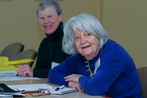 Gillian Steinhauer '59 (left) and Cynthia Bean '51 represent the Taylor Society