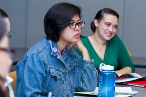 Admissions Representatives Erika Nuñez '13 (left) and Emily Friedman '03 attend a training session.