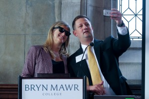 Wendy Greenfield, executive director of the Alumnae Association, and Bob Miller, chief development officer, have a little fun during their presentation on Saturday morning.