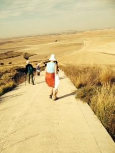 El Camino walking on the meseta