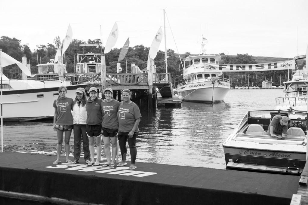 (left to right): Ruth Logan '14, Rebecca Craig '16, Angela Mastrianni '16, Phoebe Jordan '15, and coach Nikki Whitlock.