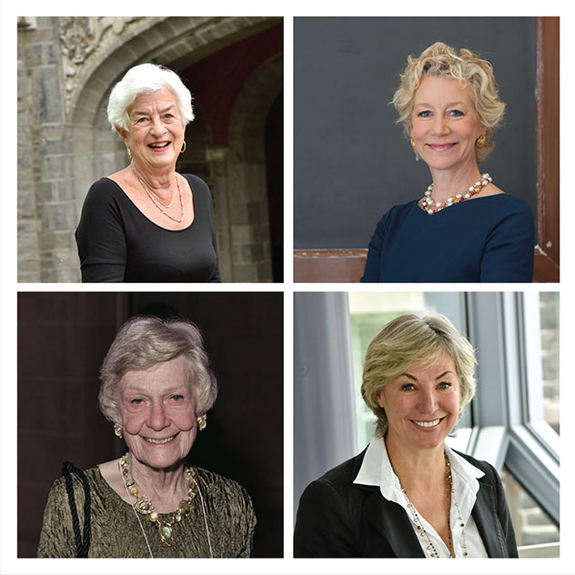 Clockwise from top right: Denise Hurley '82, Catherine Allegra '84, Ruth Kaiser Nelson '58, and Betsy Watkins '61.
